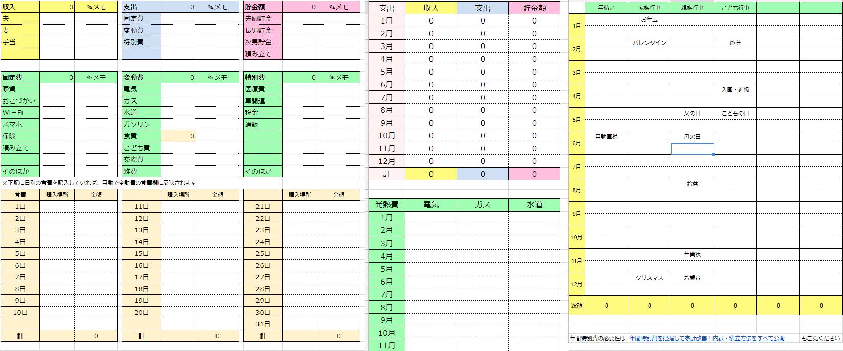 グーグルスプレッドシート 家計簿
